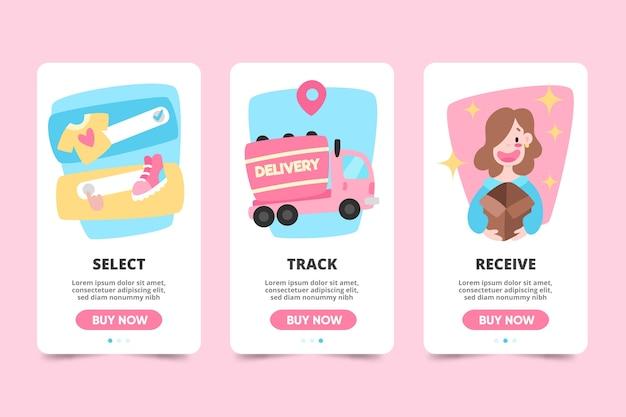 온라인 온 보딩 앱 화면 구매 무료 벡터