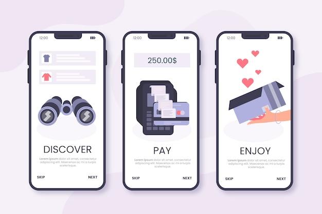 온라인 온 보딩 앱 구매 프리미엄 벡터