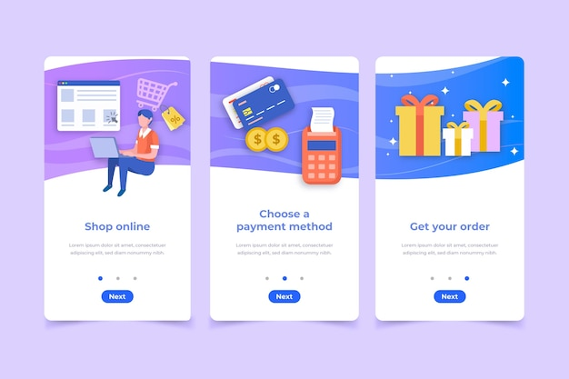 Purchase online onboarding app Free Vector