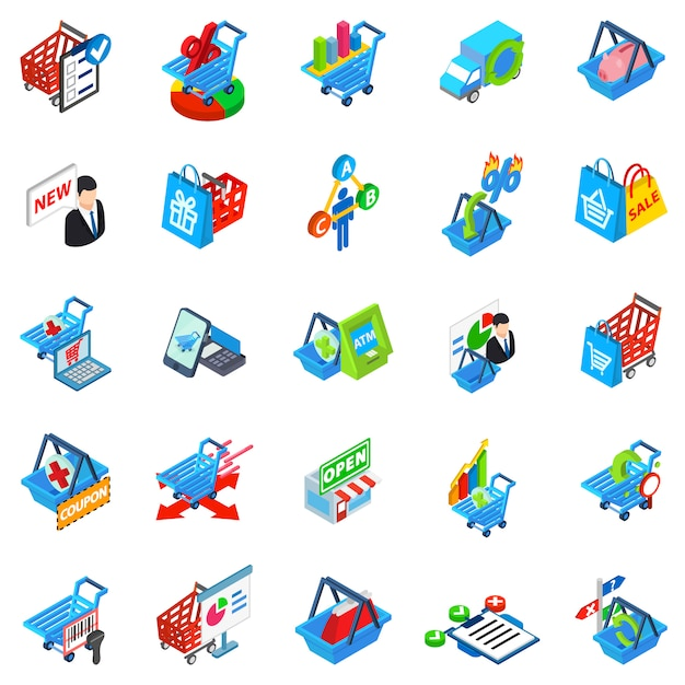 Purchase shop icon set Premium Vector