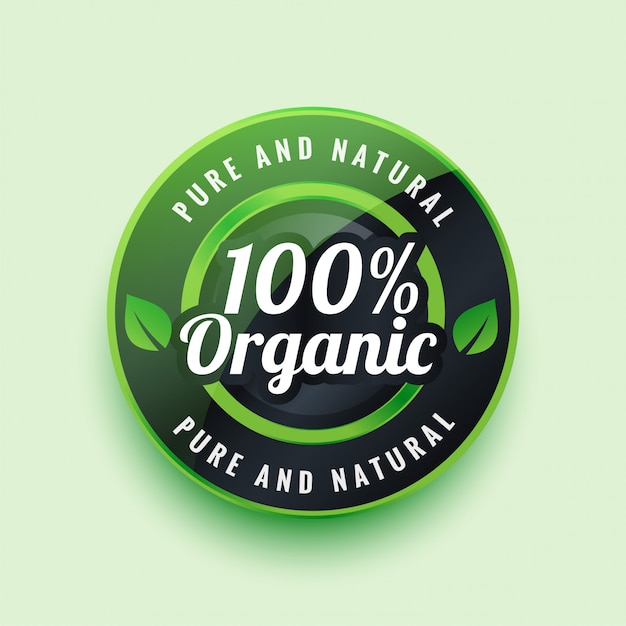 Pure and natural organic label or badge Free Vector
