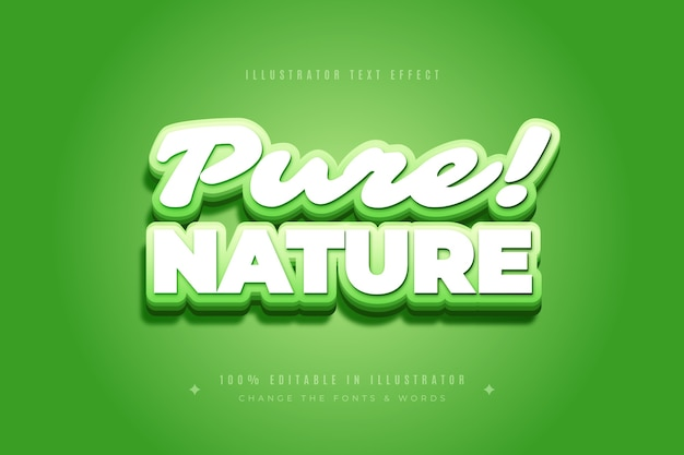Pure nature text effect Free Vector