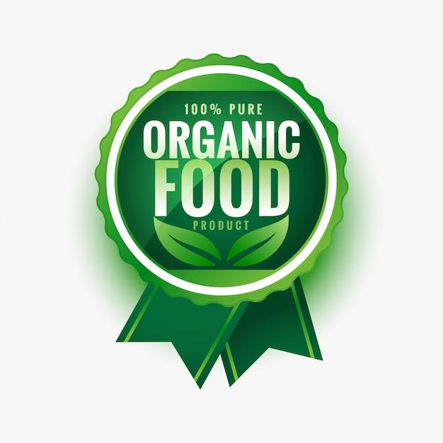 Чистые органические продукты питания зеленые листья этикетки или наклейки Бесплатные векторы