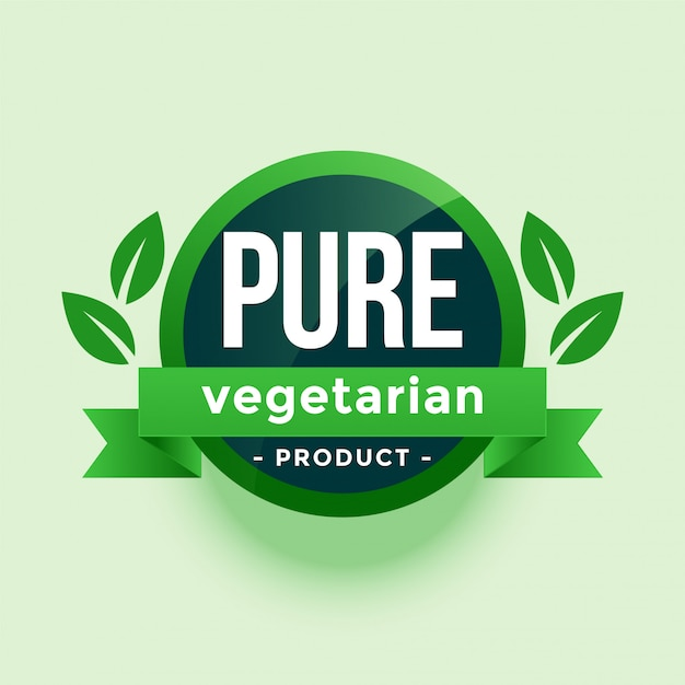 Pure vegetarian product green leaves label Free Vector