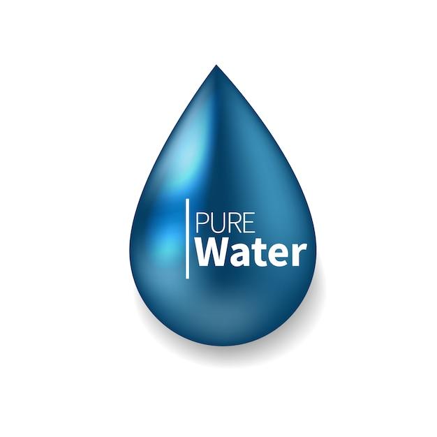 Pure water logo. blue drop symbol realistic  illustration.  sign, icon, pictogram. Premium Vector