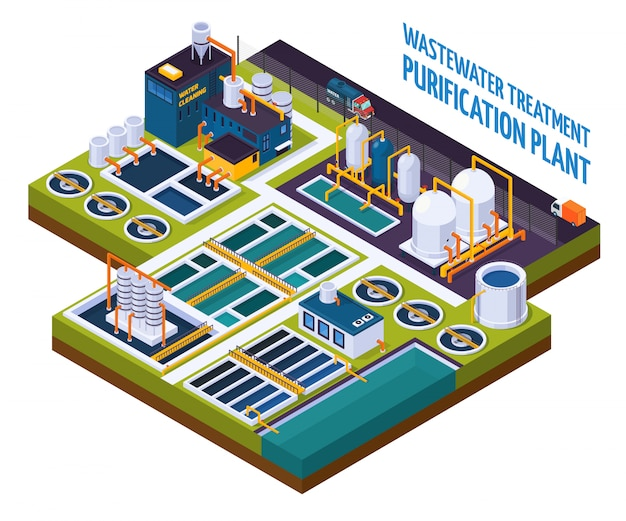 Purification plant isometric Free Vector