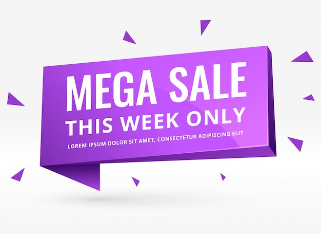 Purple 3d sale banner for promotion and marketing Free Vector