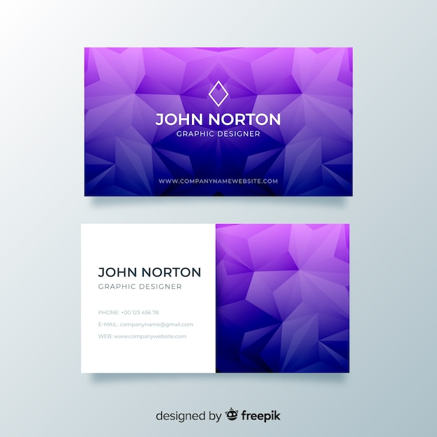 Purple abstract geometric business card Free Vector