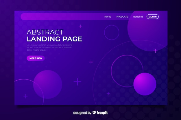 Purple abstract landing page Free Vector