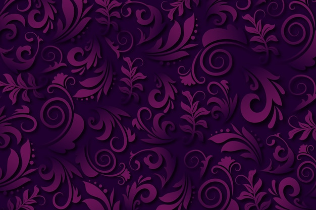 Purple Abstract Ornamental Flowers Background Vector Free