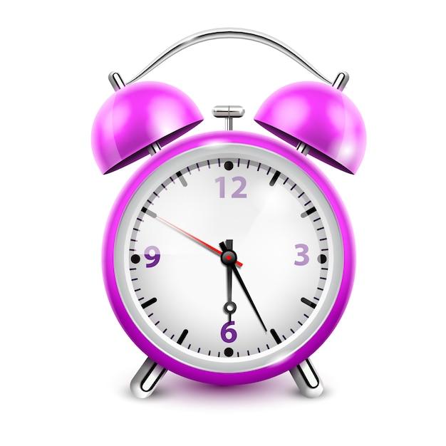白い背景の現実的なベクトル図にレトロなスタイルの2つの鐘と紫の目覚まし時計 無料ベクター