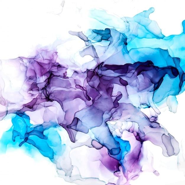 紫と青の色合いの水彩背景、ぬれた液体、手描きの背景水彩テクスチャ Premiumベクター