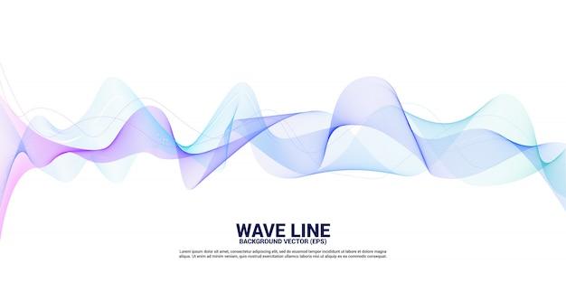 Фиолетовый и синий кривая линии звуковой волны на белом фоне. элемент для футуристического вектора темы технологии Premium векторы