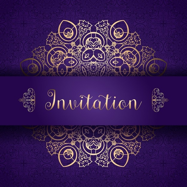 Purple and golden invitation vector free download purple and golden invitation free vector stopboris Image collections