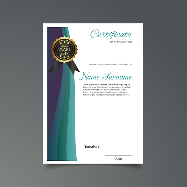 purple certificate template - purple and green certificate of appreciation template