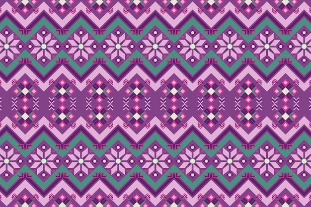 Фиолетовый и зеленый узор сонгкет Бесплатные векторы