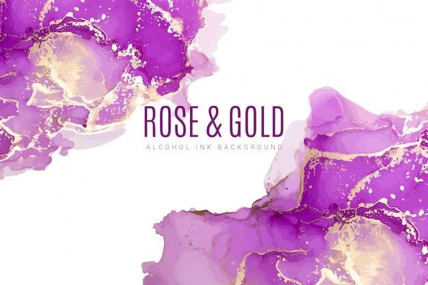 紫とピンクの色合いの水彩背景、インク Premiumベクター