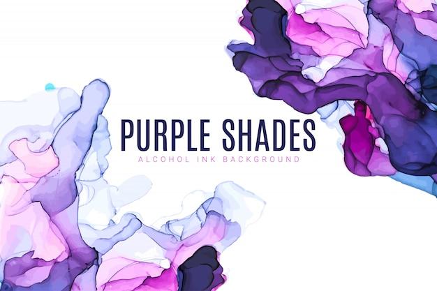 紫とピンクの色合いの水彩背景、ぬれた液体、手描きの背景水彩テクスチャ Premiumベクター
