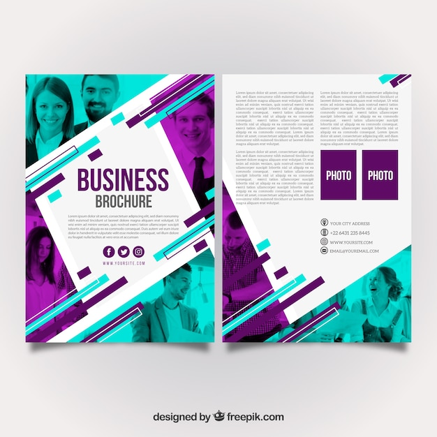 Purple and turquoise business brochure design Free Vector