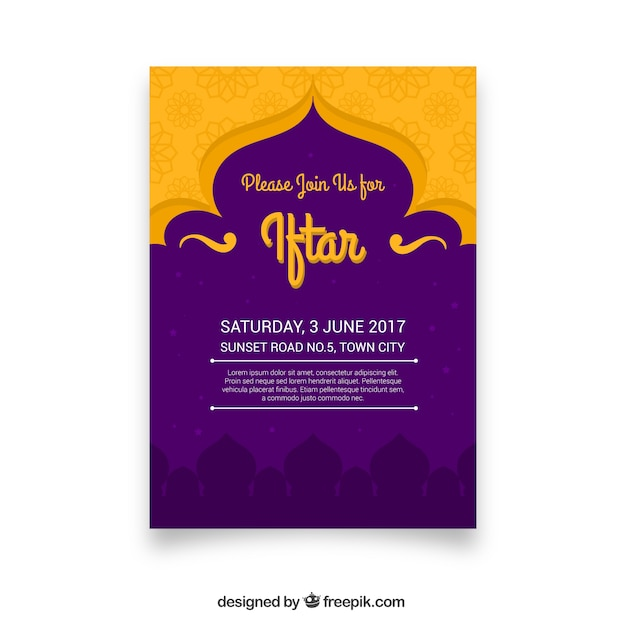 Ramadan vectors photos and psd files free download purple and yellow iftar stopboris Images