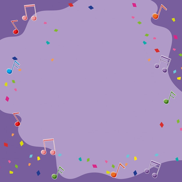 Purple backgroud with musical notes Free Vector