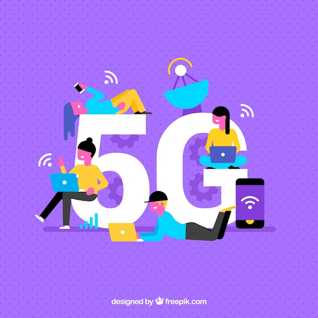 Purple background of 5g Free Vector