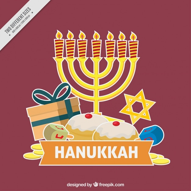 Purple background for hanukkah with traditional\ items