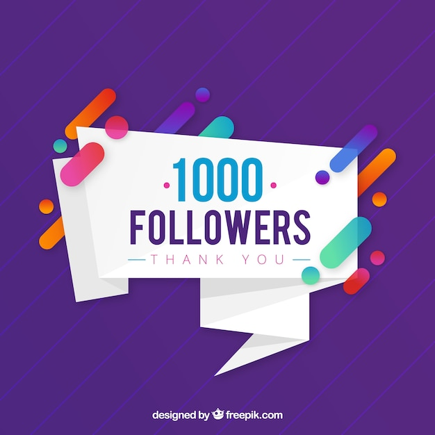 Purple background of 1k followers Free Vector