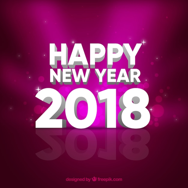 purple background of happy new year 2018 free vector
