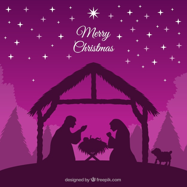 Purple background of nativity scene silhouette Free Vector