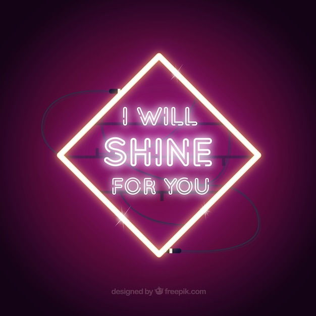 Purple Background Of Neon Lights Frame With Message Vector