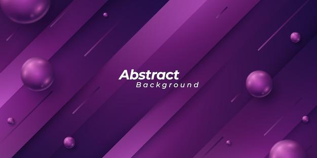 3 dスタイルの形状部分と輝く抽象的なボールと紫色の背景。 Premiumベクター
