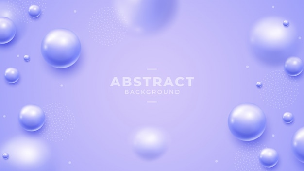 Purple background with beautiful 3d ball beads. Premium Vector