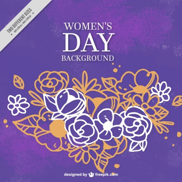 Purple background with beautiful flowers for\ women\'s day
