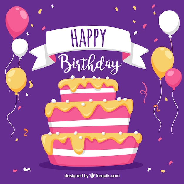 Purple Background With Birthday Cake And Balloons Vector Free Download