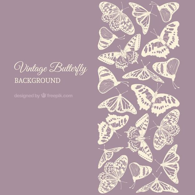 Фиолетовый фон с бабочками в пастельных тонах Premium векторы
