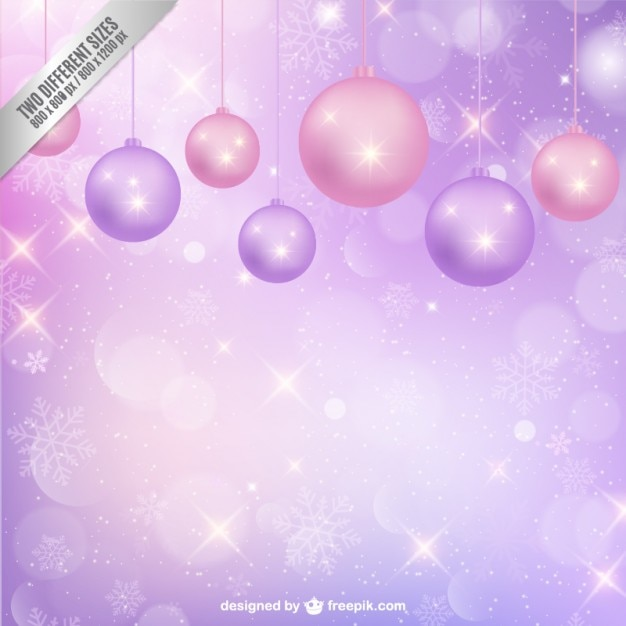 Purple background with Christmas baubles