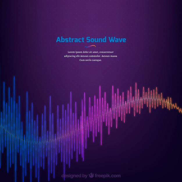 Purple background with colored abstract sound wave Free Vector