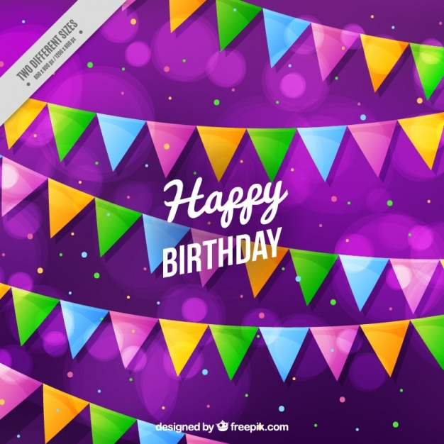 purple background with colorful birthday garlands vector free download