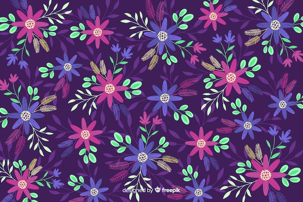 Purple background with colorful flowers Free Vector