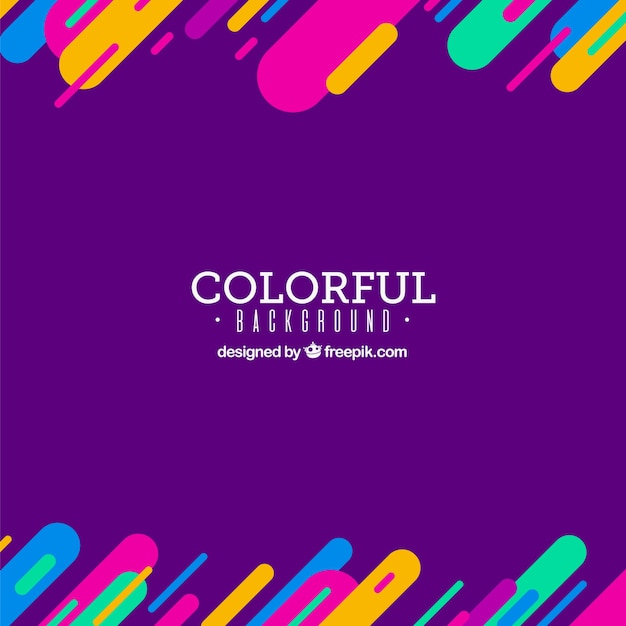 Purple background with colourful elements