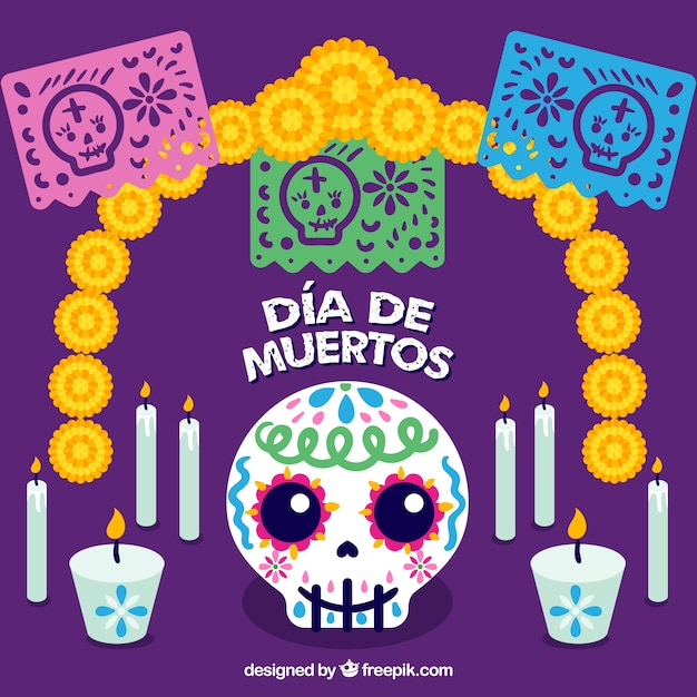 Purple background with decoration of day of the\ dead