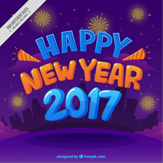 purple background with fireworks of happy new year