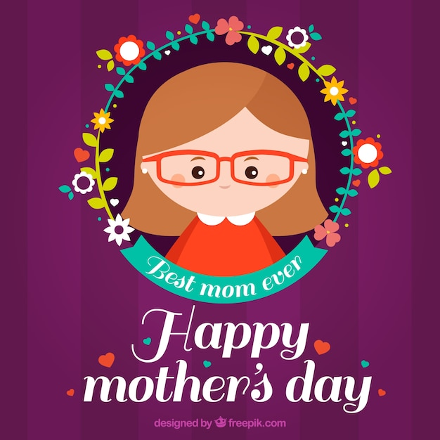 Purple background with flowers and woman for\ mother\'s day