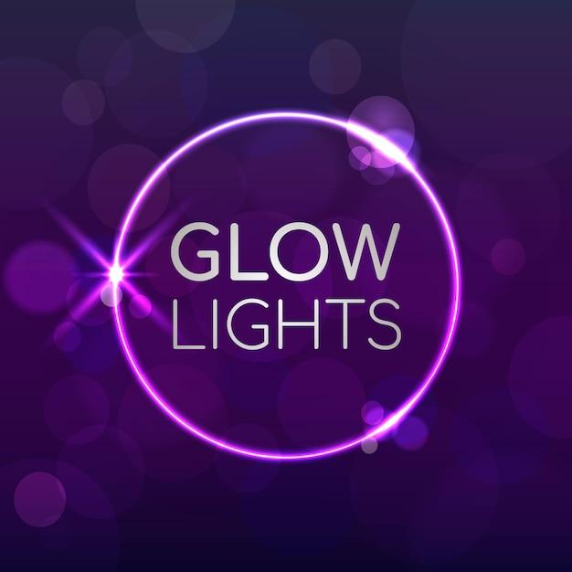 Purple background with glow lights Premium Vector