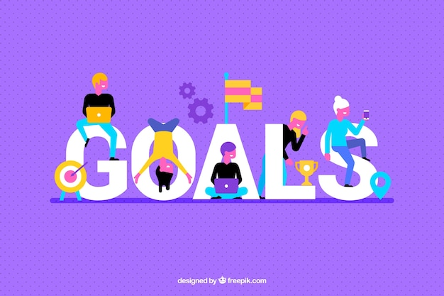 Purple background with goals word Free Vector
