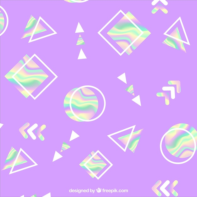 Purple background with holographic geometric shapes