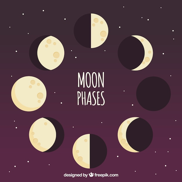 Purple background with moon phases in flat design Free Vector