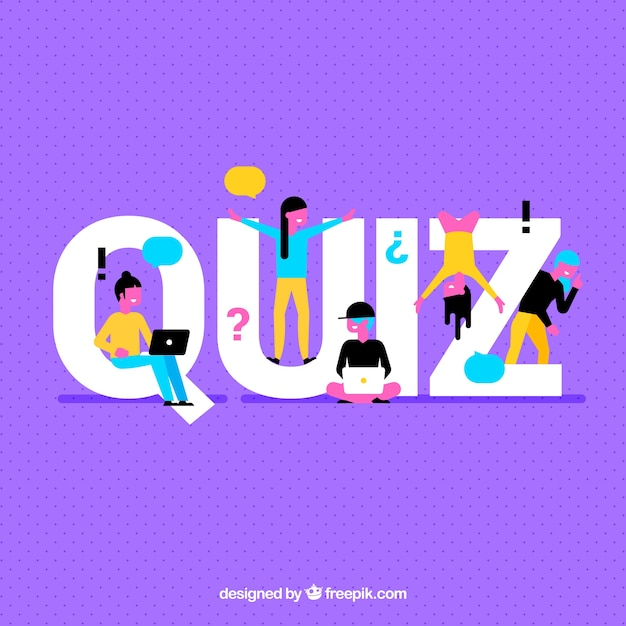 purple background with quiz word and colorful people vector free