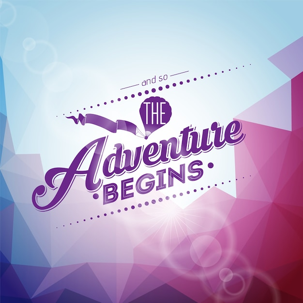 Purple background with quote adventure begins Free Vector